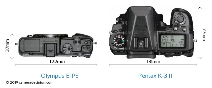 Olympus E-P5 vs Pentax K-3 II Camera Size Comparison - Top View
