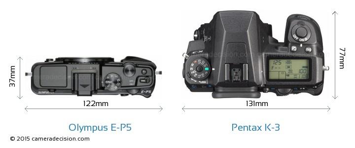 Olympus E-P5 vs Pentax K-3 Camera Size Comparison - Top View