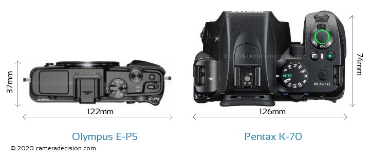 Olympus E-P5 vs Pentax K-70 Camera Size Comparison - Top View