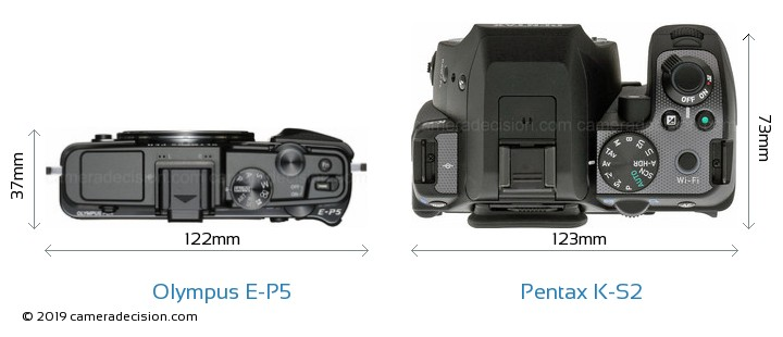 Olympus E-P5 vs Pentax K-S2 Camera Size Comparison - Top View