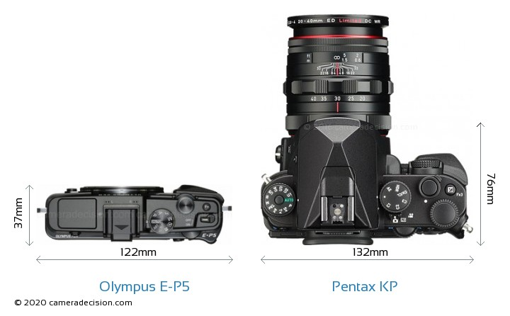 Olympus E-P5 vs Pentax KP Camera Size Comparison - Top View