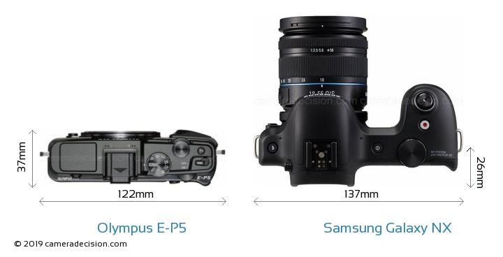 Olympus E-P5 vs Samsung Galaxy NX Camera Size Comparison - Top View