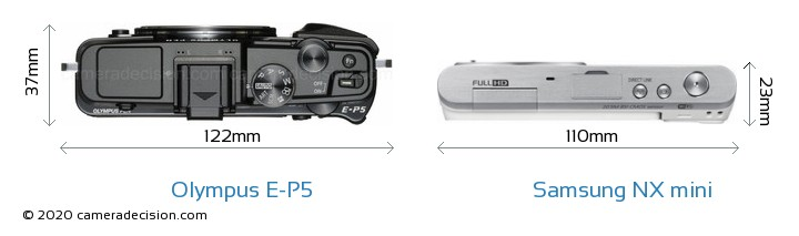 Olympus E-P5 vs Samsung NX mini Camera Size Comparison - Top View