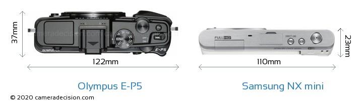 Olympus E-P5 vs Samsung NX mini Camera Size Comparison - Top View