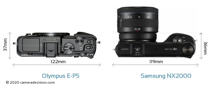 Olympus E-P5 vs Samsung NX2000 Camera Size Comparison - Top View