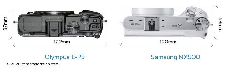 Olympus E-P5 vs Samsung NX500 Camera Size Comparison - Top View