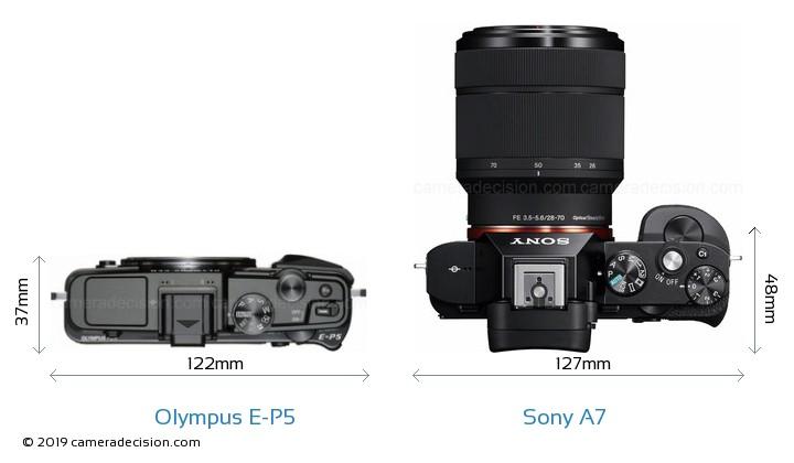 Olympus E-P5 vs Sony A7 Camera Size Comparison - Top View