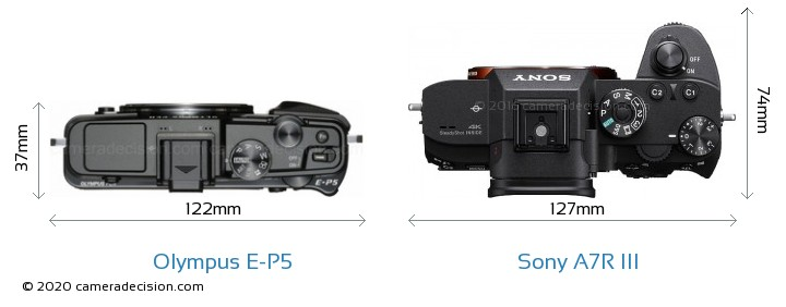 Olympus E-P5 vs Sony A7R III Camera Size Comparison - Top View