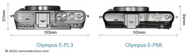 Olympus E-PL3 vs Olympus E-PM1 Camera Size Comparison - Top View