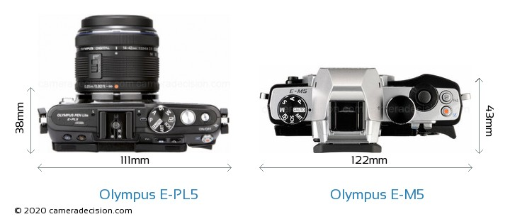 Olympus E-PL5 vs Olympus E-M5 Camera Size Comparison - Top View