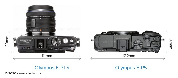 Olympus E-PL5 vs Olympus E-P5 Camera Size Comparison - Top View