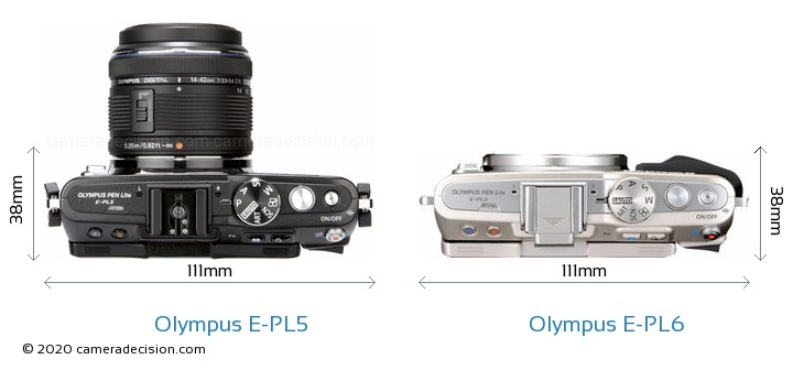 Olympus E-PL5 vs Olympus E-PL6 Camera Size Comparison - Top View