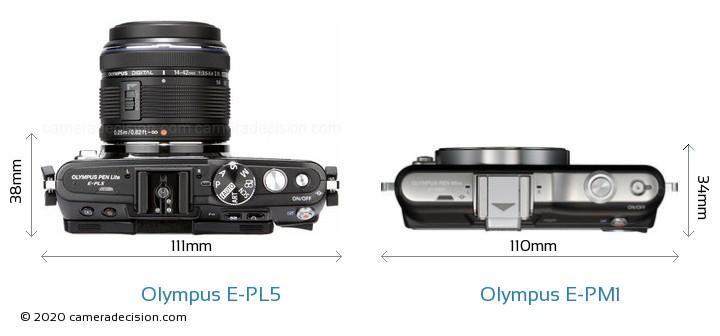 Olympus E-PL5 vs Olympus E-PM1 Camera Size Comparison - Top View