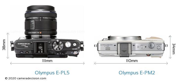 Olympus E-PL5 vs Olympus E-PM2 Camera Size Comparison - Top View