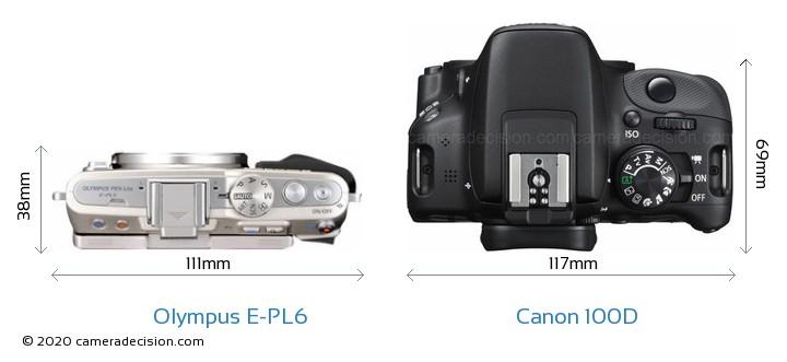 Olympus E-PL6 vs Canon 100D Camera Size Comparison - Top View
