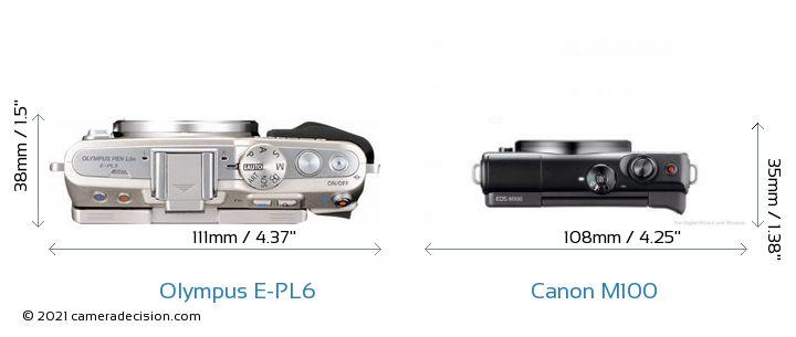 Olympus E-PL6 vs Canon M100 Camera Size Comparison - Top View