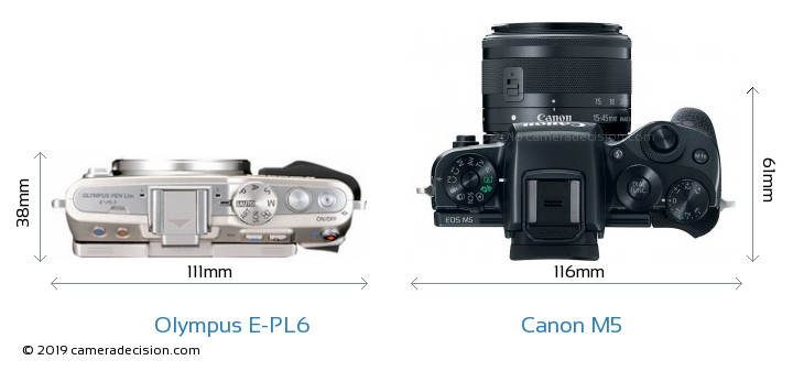 Olympus E-PL6 vs Canon M5 Camera Size Comparison - Top View