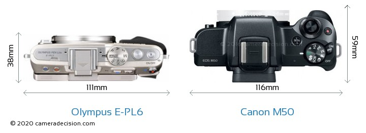Olympus E-PL6 vs Canon M50 Camera Size Comparison - Top View