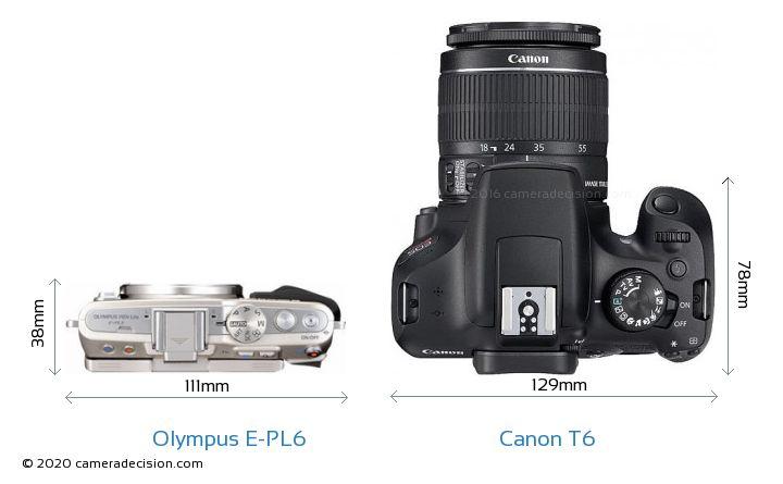Olympus E-PL6 vs Canon T6 Camera Size Comparison - Top View