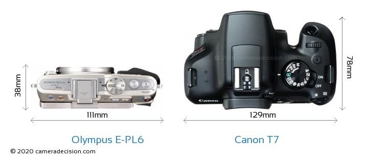Olympus E-PL6 vs Canon T7 Camera Size Comparison - Top View