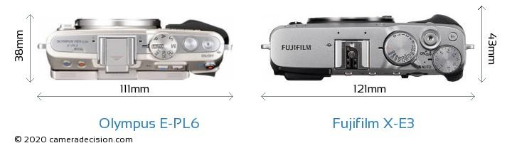 Olympus E-PL6 vs Fujifilm X-E3 Camera Size Comparison - Top View