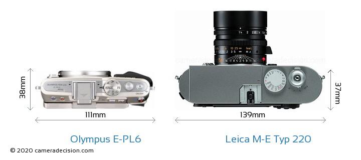 Olympus E-PL6 vs Leica M-E Typ 220 Camera Size Comparison - Top View
