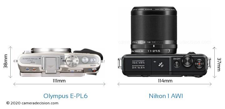 Olympus E-PL6 vs Nikon 1 AW1 Camera Size Comparison - Top View