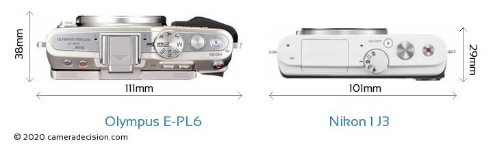 Olympus E-PL6 vs Nikon 1 J3 Camera Size Comparison - Top View