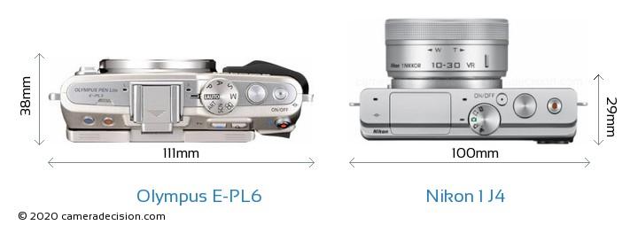 Olympus E-PL6 vs Nikon 1 J4 Camera Size Comparison - Top View