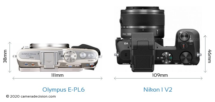 Olympus E-PL6 vs Nikon 1 V2 Camera Size Comparison - Top View