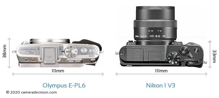 Olympus E-PL6 vs Nikon 1 V3 Camera Size Comparison - Top View