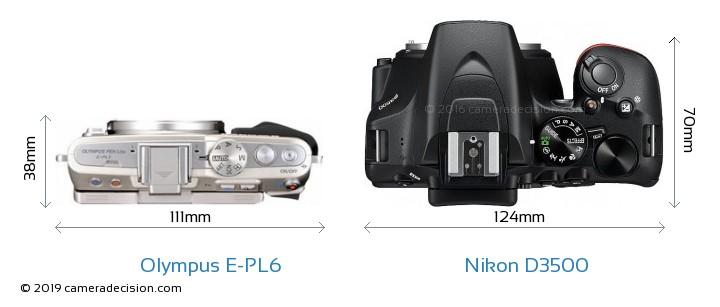 Olympus E-PL6 vs Nikon D3500 Camera Size Comparison - Top View
