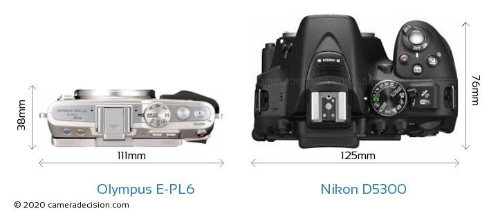 Olympus E-PL6 vs Nikon D5300 Camera Size Comparison - Top View