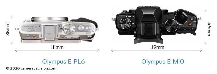 Olympus E-PL6 vs Olympus E-M10 Camera Size Comparison - Top View