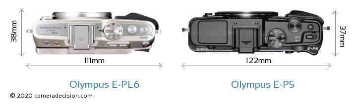 Olympus E-PL6 vs Olympus E-P5 Camera Size Comparison - Top View