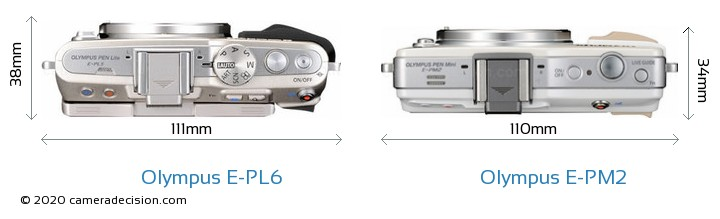 Olympus E-PL6 vs Olympus E-PM2 Camera Size Comparison - Top View