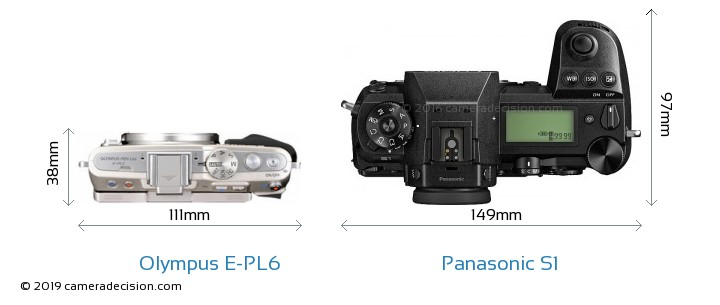Olympus E-PL6 vs Panasonic S1 Camera Size Comparison - Top View