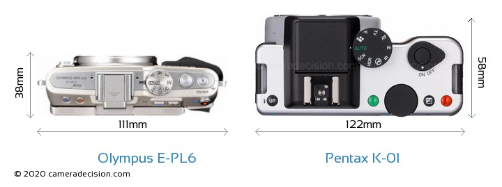 Olympus E-PL6 vs Pentax K-01 Camera Size Comparison - Top View