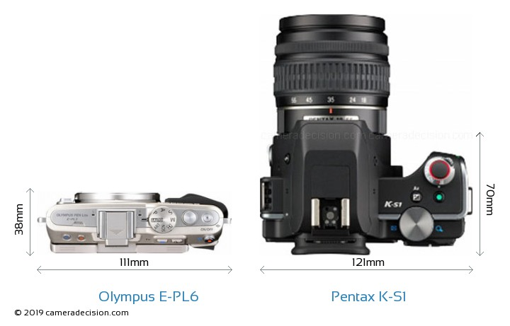 Olympus E-PL6 vs Pentax K-S1 Camera Size Comparison - Top View