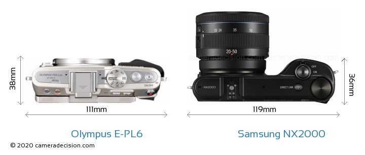 Olympus E-PL6 vs Samsung NX2000 Camera Size Comparison - Top View
