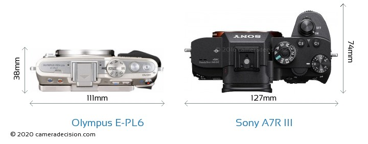 Olympus E-PL6 vs Sony A7R III Camera Size Comparison - Top View