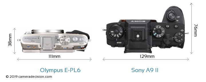 Olympus E-PL6 vs Sony A9 II Camera Size Comparison - Top View