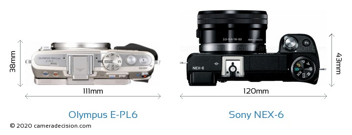 Olympus E-PL6 vs Sony NEX-6 Camera Size Comparison - Top View