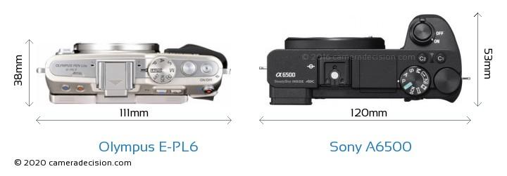 Olympus E-PL6 vs Sony A6500 Camera Size Comparison - Top View