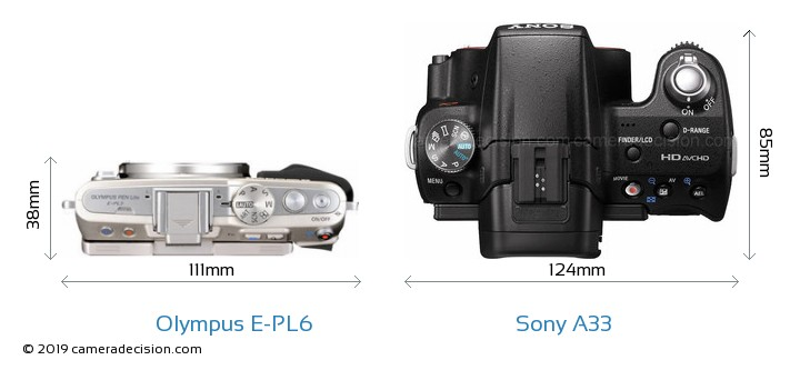 Olympus E-PL6 vs Sony A33 Camera Size Comparison - Top View