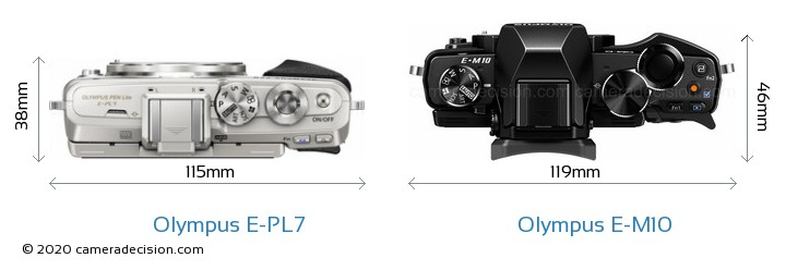Olympus E-PL7 vs Olympus E-M10 Camera Size Comparison - Top View