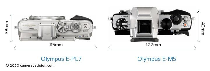 Olympus E-PL7 vs Olympus E-M5 Camera Size Comparison - Top View