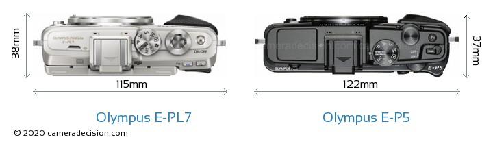 Olympus E-PL7 vs Olympus E-P5 Camera Size Comparison - Top View
