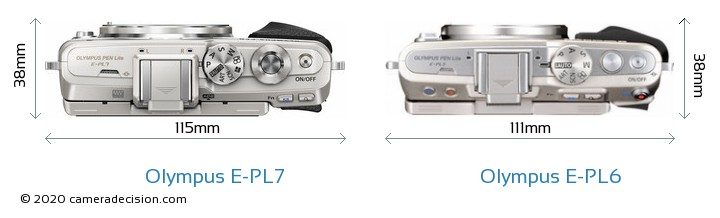 Olympus E-PL7 vs Olympus E-PL6 Camera Size Comparison - Top View