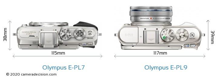 Olympus E-PL7 vs Olympus E-PL9 Camera Size Comparison - Top View